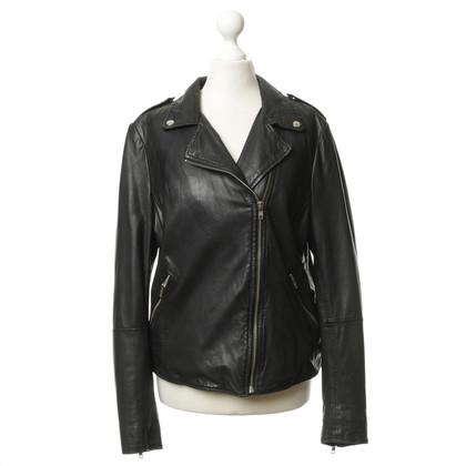 Muubaa Lederen jas in zwart