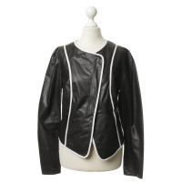 Laurèl Black leather jacket with white piping