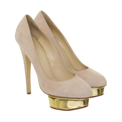 Charlotte Olympia Pumps with metallic-plateau