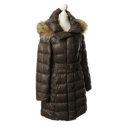 Max Mara Green down coat with fur collar