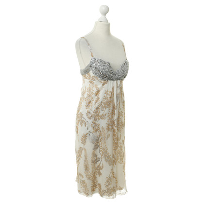 Ermanno Scervino Floral silk dress with Silver accents