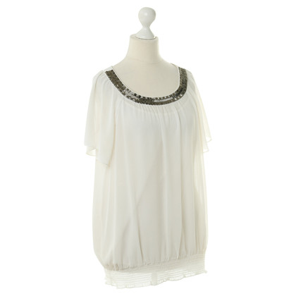 Calvin Klein White top with beaded trim