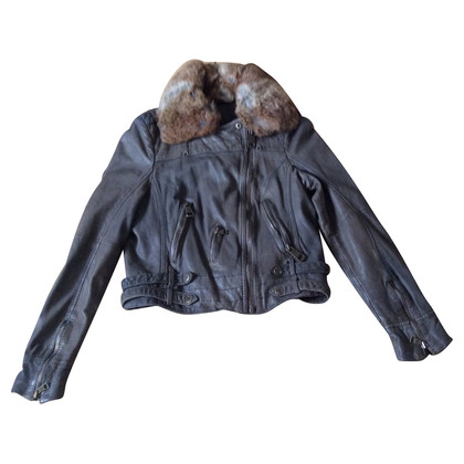 Rich & Royal Leather coat with real fur