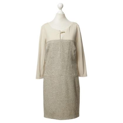 Airfield Beige jurk met materiaal mix