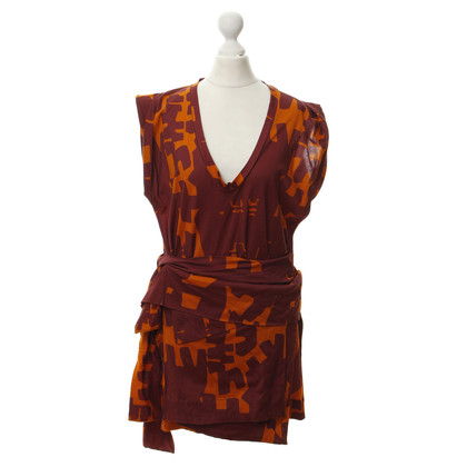 Isabel Marant Kleid ' Feriel' in red and orange