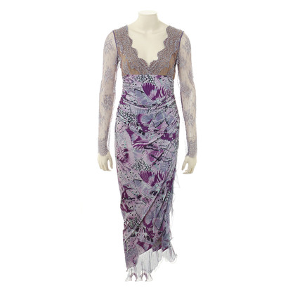 Emanuel Ungaro Long dress with lace sleeves