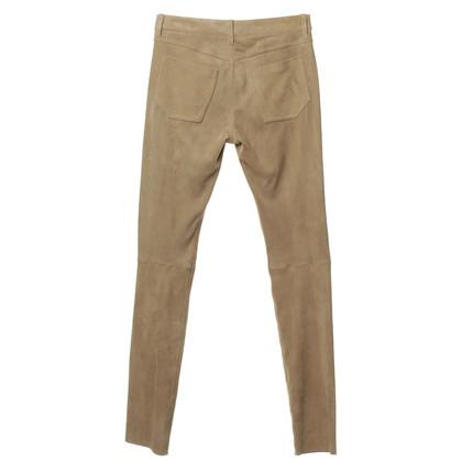 Aigner Pantaloni in pelle scamosciata