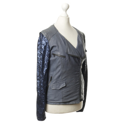 Giorgio Brato Leather jacket with sequins sleeves