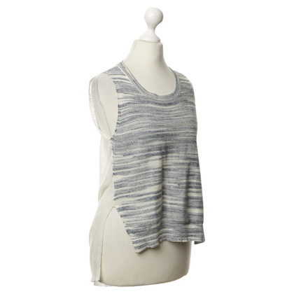 BCBG Max Azria Blue cream-coloured top with waterfall neck
