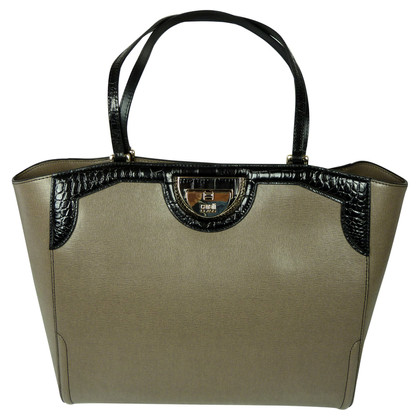 Roberto Cavalli Leather shopper in Taupe