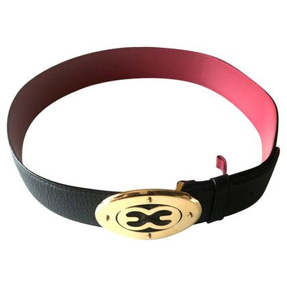 Escada black leather belt