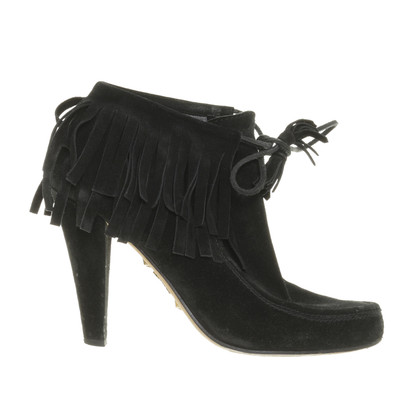 Gucci Suede Ankle Boots with fringe trim
