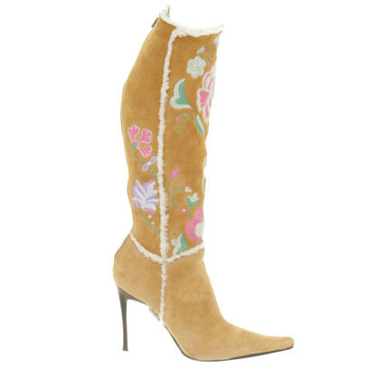 Casadei Suede boots with colorful floral embroidery