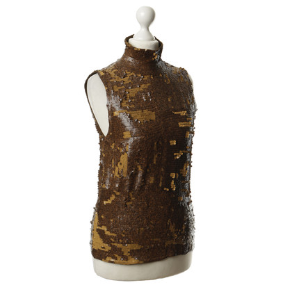 Donna Karan Sequin top in rust brown