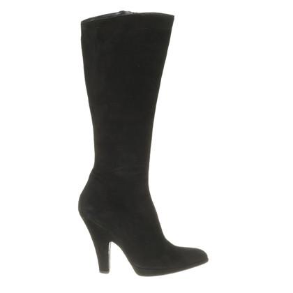 Pura Lopez Schwarze Stiefel aus Wildleder