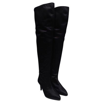 Valentino Overknees in black satin
