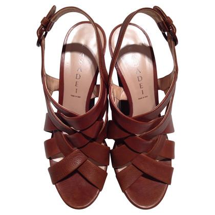 Casadei Platform hoge hak sandaal met gevlochten patronen