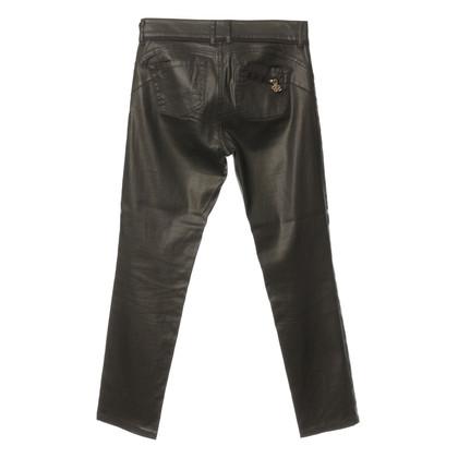 Blumarine Dark brown pants with gloss coating