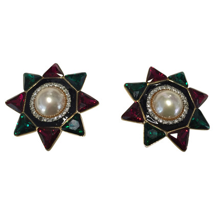 Valentino Clip earrings with Rhinestones and colored stones
