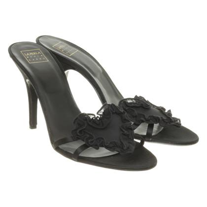 La Perla Sandalette aus schwarzem Satin