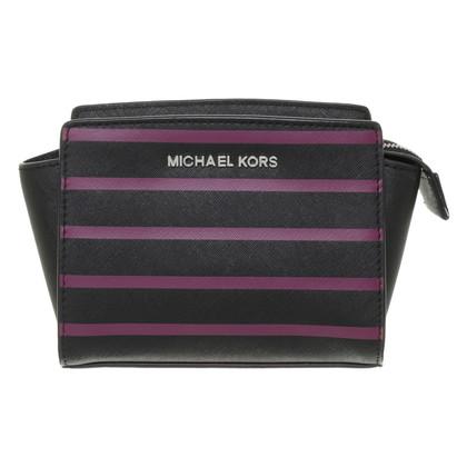 """Michael Kors """"Selma"""" kleine zwart paarse gestreept"""