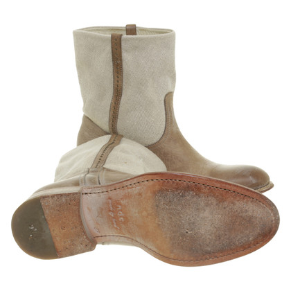 N.d.c. Made by Hand Boots in beigefarbenem Leder-Canvas-Mix