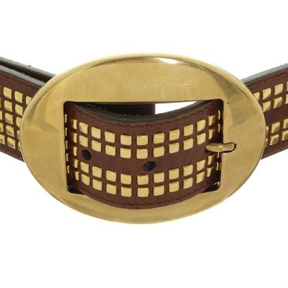 Dolce & Gabbana Cintura con borchie marrone scuro