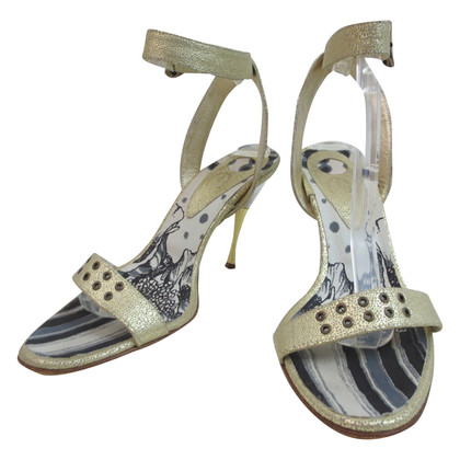 Just Cavalli Gouden lederen sandaal
