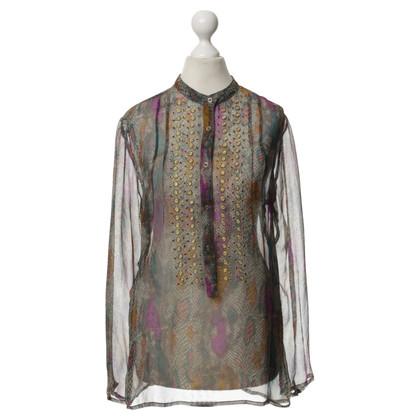 Antik Batik Zijde blouse met patronen