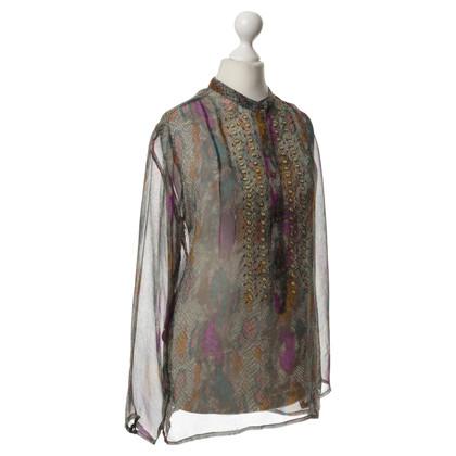 Antik Batik Seidenbluse mit Muster