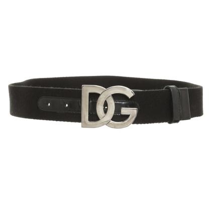Dolce & Gabbana Textiel riem met logo gesp