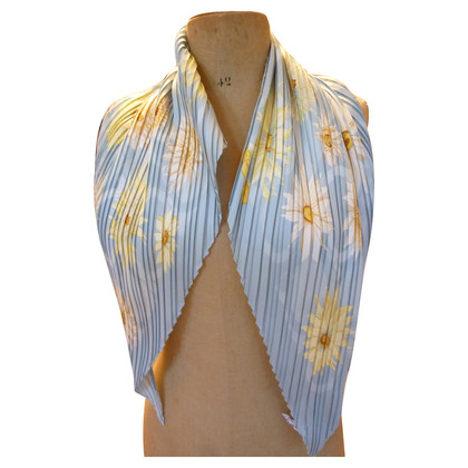 Salvatore Ferragamo Silk scarf in light blue with pleats