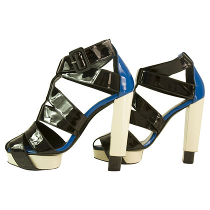 Pierre Hardy Patent Black Blue and White Gladiator