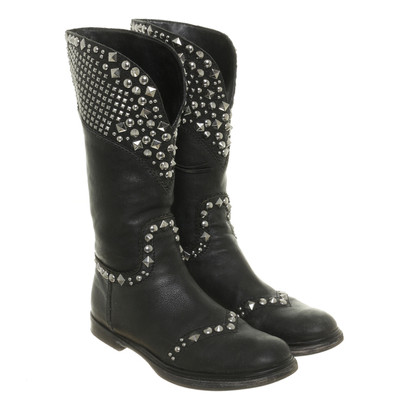 Miu Miu Black leather boots with studs