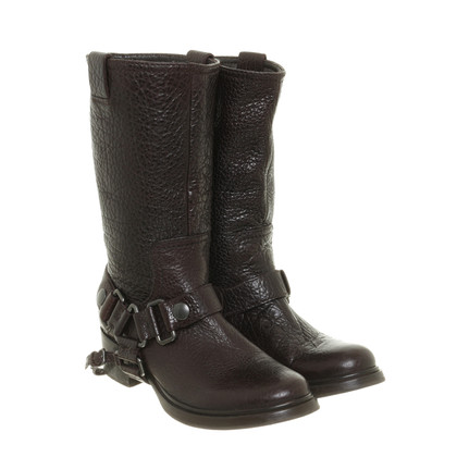 Miu Miu Dark brown leather boots with coarse grain
