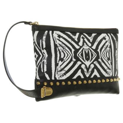 MCM Funky Zebra top zip Pouch nero/bianco