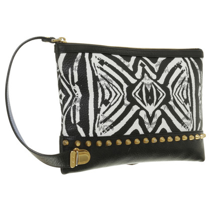 MCM Funky Zebra top zip Pouch zwart/wit