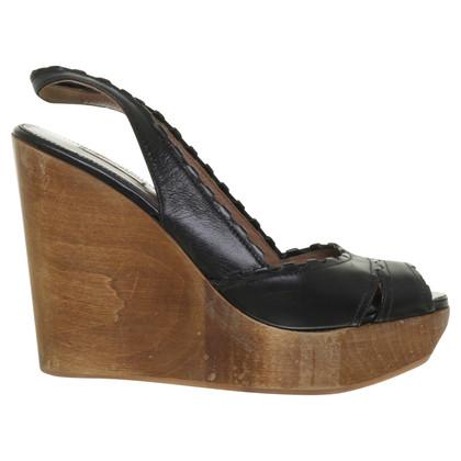 Alaïa Wedges mit Holz-Keil