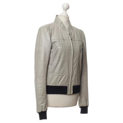 Balenciaga Leather jacket with rib