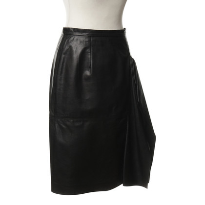 Oscar de la Renta Leather skirt with lace trim