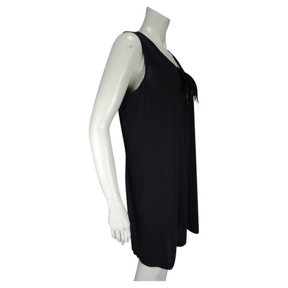 Turnover black dress with feather detail