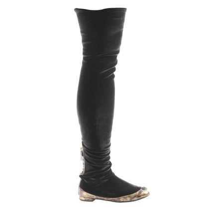 Chanel Overknee Stiefel aus Samt