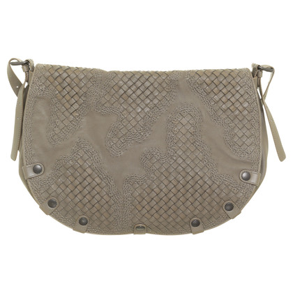 Bottega Veneta Embroidered leather bag grey