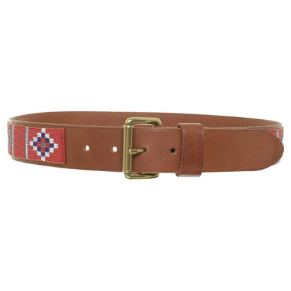 Ralph Lauren Leather belt with red beads