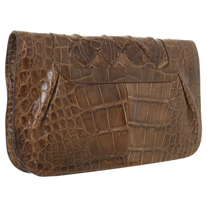 Salvatore Ferragamo clutch in Brown crocodile leather
