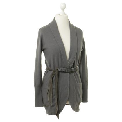 Brunello Cucinelli Cashmere jacket with leather belt