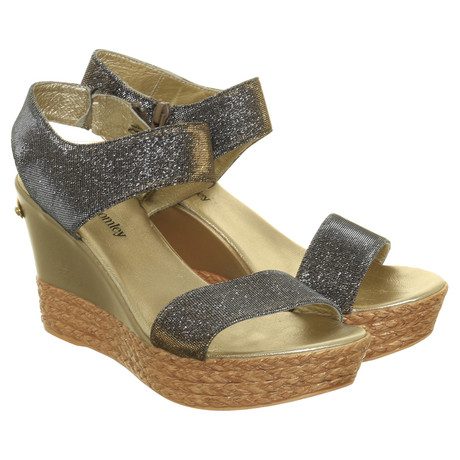 Metallic amp; Bunt Bromley Muster Look Sandalette im Russell Wedge dHTwaXCfq