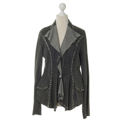 Just Cavalli Suede jacket with eyelet detail