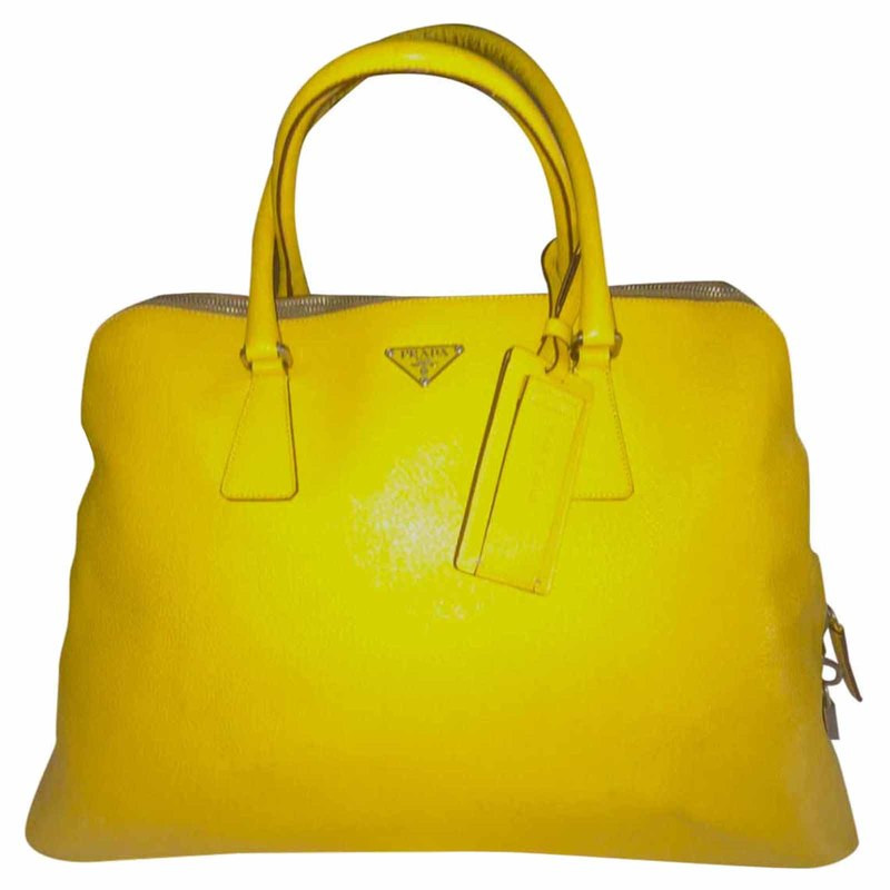 "76b63f71885153 Prada ""Bauletto"" bag in yellow - Buy Second hand Prada  ""Bauletto"""