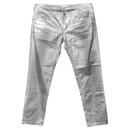 Faith Connexion Jeans im Metallic-Silber Look